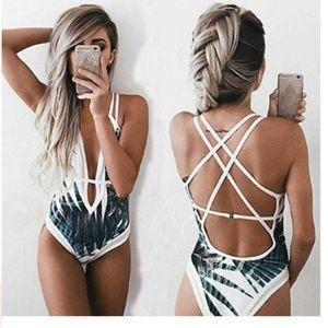 Tropical Fern High Cut Plunge Monokini Swimsuit